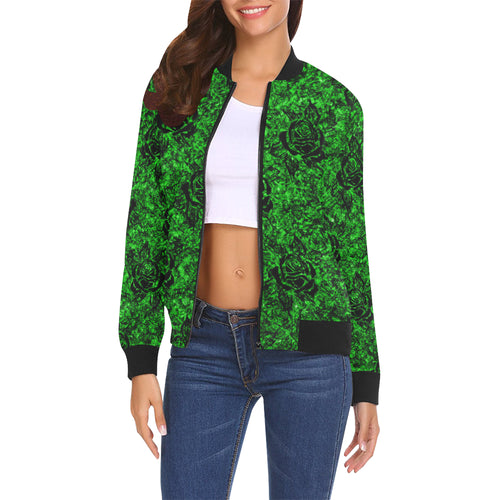 Green Rose Pattern Women's All Over Print Casual Jacket