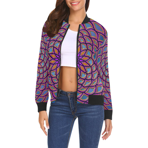 Center Flower Women's All Over Print Casual Jacket