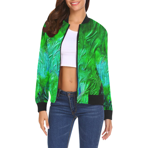 Wild Green Women's All Over Print Casual Jacket