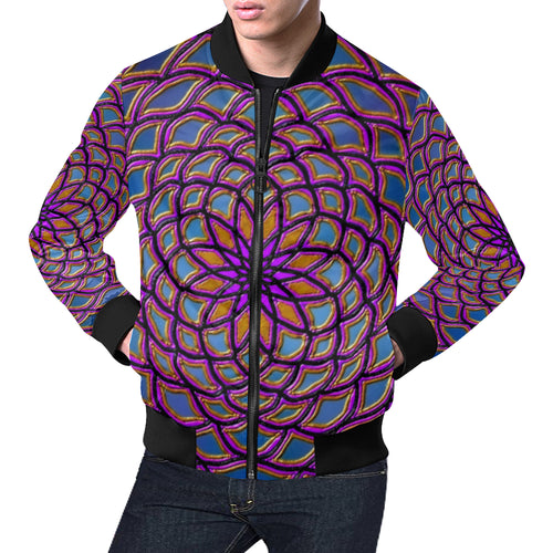 Center Flower Men's All Over Print Casual Jacket