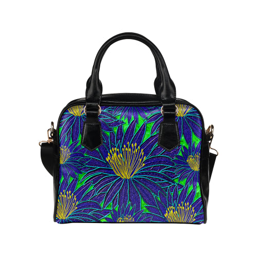 Blue Flowers Shoulder Handbag