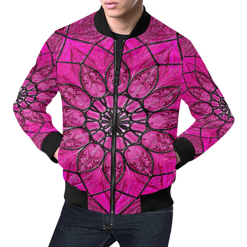 Pink Flower Abstract Men's All Over Print Casual Jacket