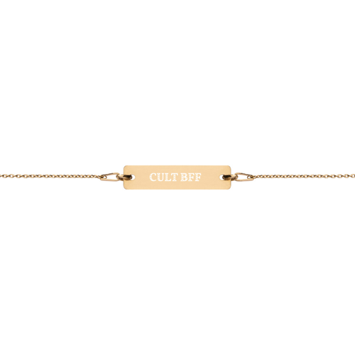 CULT BFF - Engraved Silver Bar Chain Bracelet