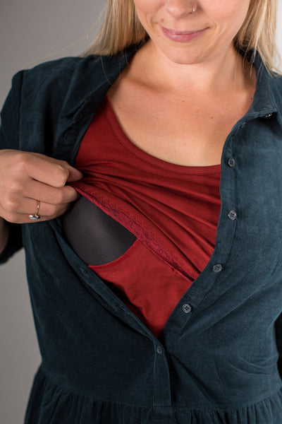 Organic Bshirt Lift the Flap in Burnished Berry