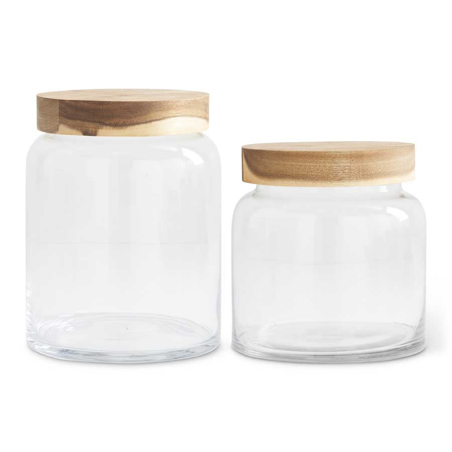 Clear Glass Container with Acacia Wood Lid