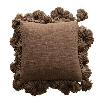 Square Cotton Slub Pillow With Crochet Tassels - Iron