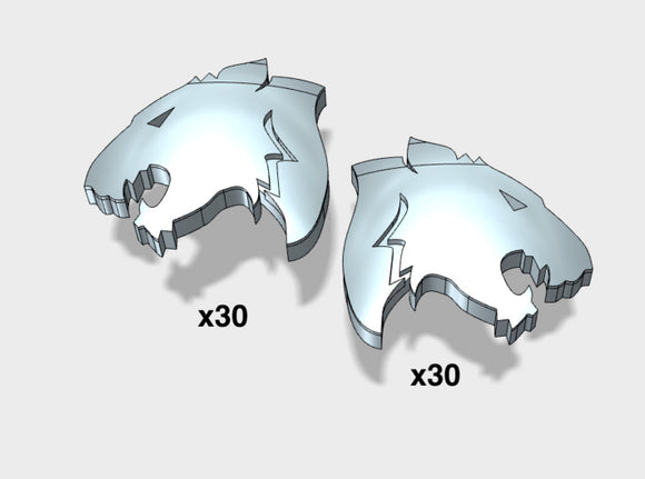 60x Tigers Argent : Right & Left Shoulder Insignia 3d printed