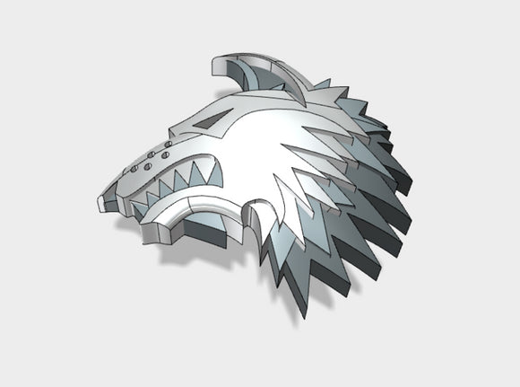 60x Shaggy Wolf - Shoulder Insignia pack 3d printed