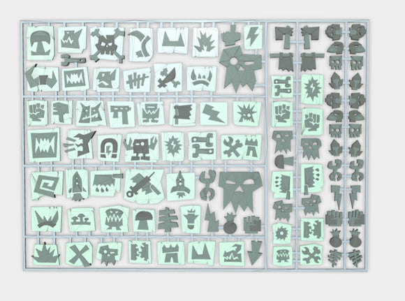 Orc Glyphs 1 - Flat Vehicle Insignia pack 3d printed