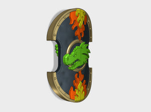Dragon Head - Trojan Power Shields (L&R) 3d printed (x2) 1 Left & 1 Right Handed