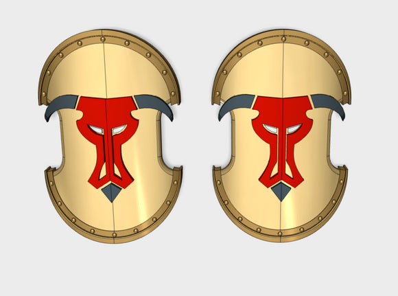 Greek Bull - Trojan Power Shields (L&R) 3d printed (x2) 1 Left and 1 Right Handed Shields