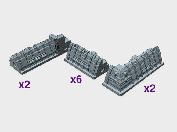 [Tiny Titans] 10 piece City Walls 3d printed Over 40 cm in length combined (16 inches)