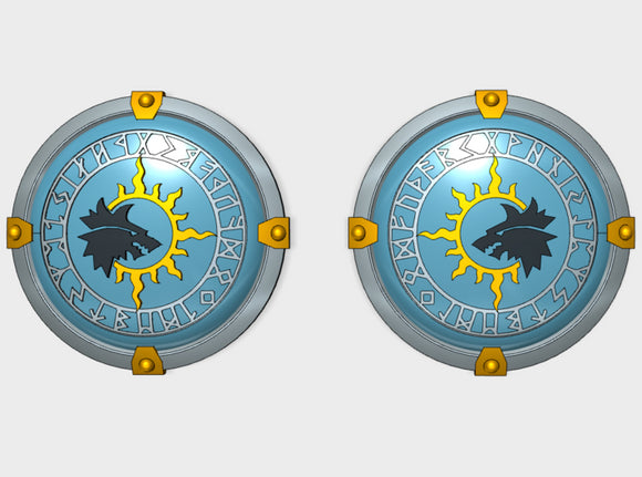 10x Sun Wolves - Round Power Shields (L&R) 3d printed