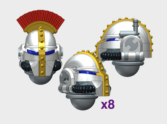 10x Base - Teutonic Helmets : Squad Set 3d printed