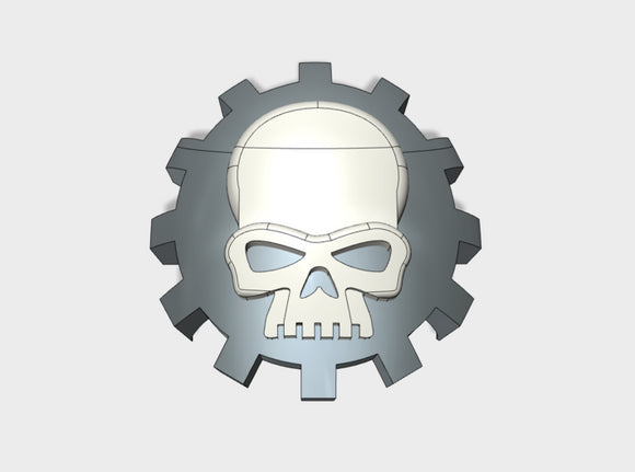 60x Gear Skull - Shoulder Insignia pack 3d printed