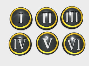 10x Circle Numerals 1-6 : Shoulder Insignia pack 3d printed