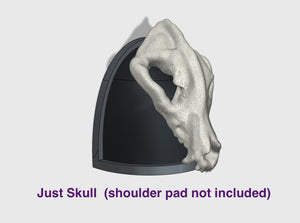40x Real Wolf Skull : Large Shoulder Add-on 3d printed Meant to sit high on a Shoulder Pad, and big on larger models.