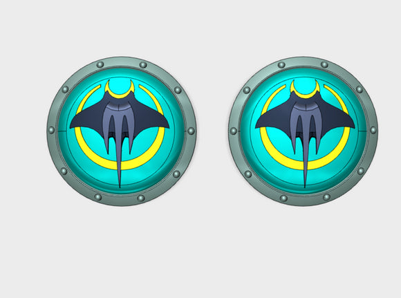 Devil Rays - Round Power Shields (L&R) 3d printed