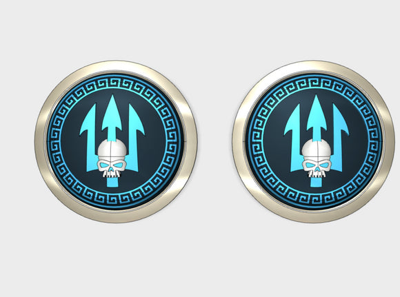 Neptune Spears - Round Power Shields (L&R) 3d printed Small = 2 Shield (L&R)