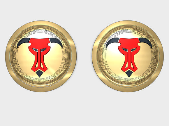 Greek Bull - Round Power Shields (L&R) 3d printed Small = 2 Shield (L&R)