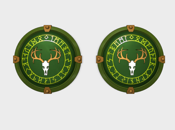 Wild Hunt [Runes] - Round Power Shields (L&R) 3d printed