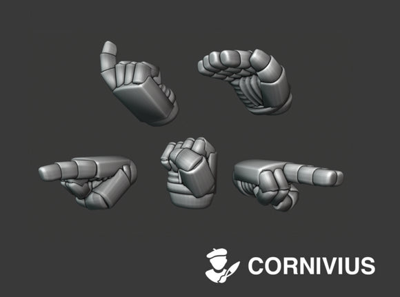 30x Marine Hands: Command_Set 3d printed includes 3 copies of a Left and a Right hand version of each