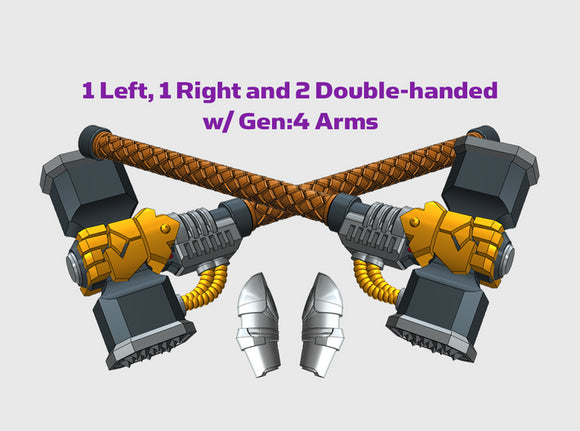 4x Energy Hammer: Rogal - G:4 Set 3d printed 1 left-handed weapon, 1 right-handed weapon, and 2 double-handed version