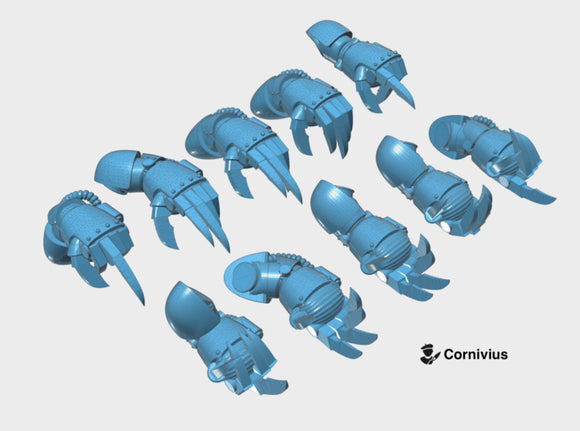 10x Base - Terminator Power Claws 3d printed Includes the full arm in both Right and Left-handed versions