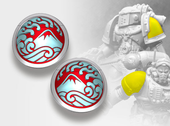 60x Nihon Knights - Small Convex Insignias (5mm) 3d printed