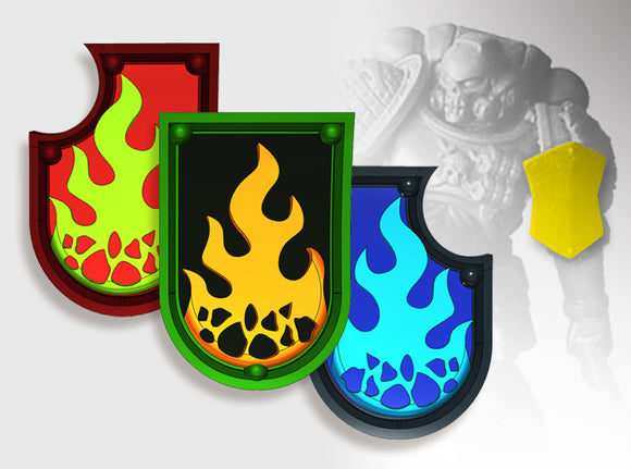 20x Ember Flame - Shoulder Shields Variety Pack 3d printed