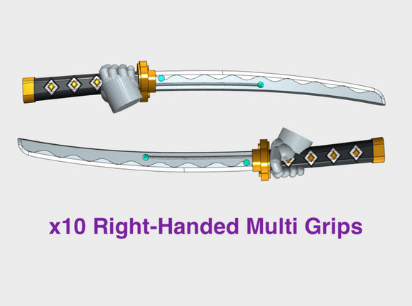 10x Right-hand Energy Sword: Shinto (Multi Grips) 3d printed