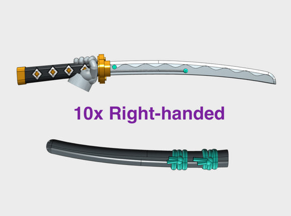 10x Right-hand Energy Sword: Shinto (w/Sheaths) 3d printed