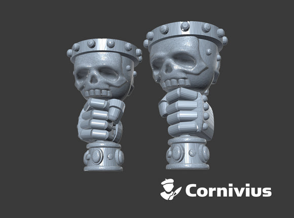 Skull Chalices (Left & Right-Handed) 3d printed Small Sprue = 2 Chalices