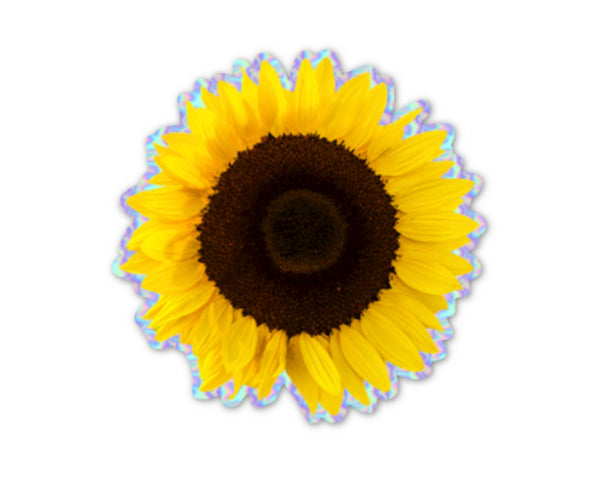Sunflower Sticker With Holographic Border