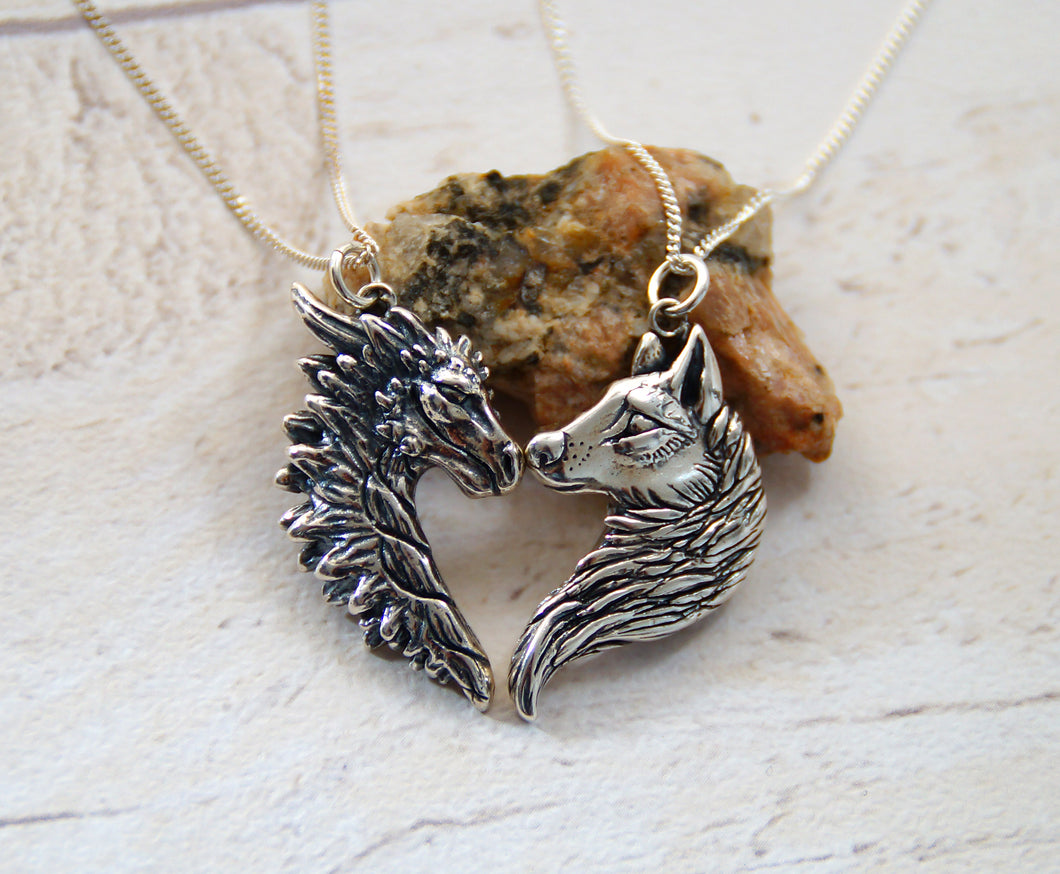 Sterling Silver Dragon/Wolf Friendship Pendant Set