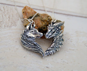 Sterling Silver Wolf/Dragon Friendship Pendant Set