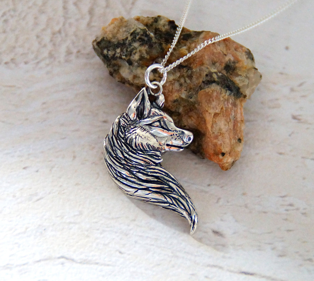 Sterling Silver Wolf Head Pendant (Left)