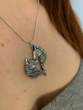 Load image into Gallery viewer, Sterling silver Love Wolves pendant