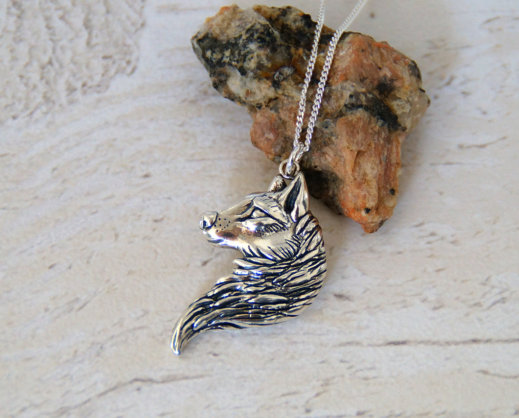 Sterling Silver Wolf Head Pendant (Right)