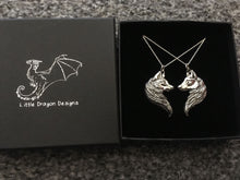 Load image into Gallery viewer, Sterling Silver Wolf Friendship Pendant Set