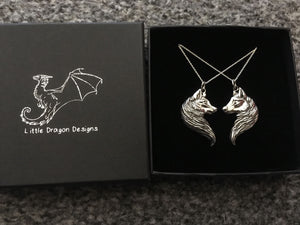 Sterling Silver Wolf Friendship Pendant Set