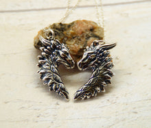 Load image into Gallery viewer, Sterling Silver Dragon Friendship Pendant Set
