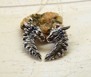 Sterling Silver Dragon Friendship Pendant Set