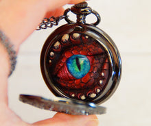 Load image into Gallery viewer, Red/Black Steampunk Pocket Watcher