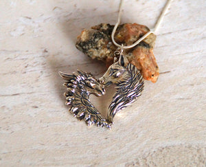 Sterling silver Love Dragon/Wolf pendant