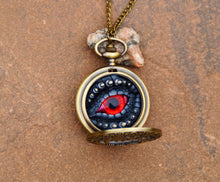 Load image into Gallery viewer, Black/Red Steampunk Pocket Watcher