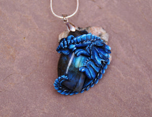 Night Blue Labradorite Guardian Dragon Pendant