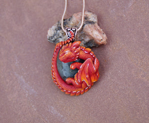 Red Labradorite Guardian Dragon