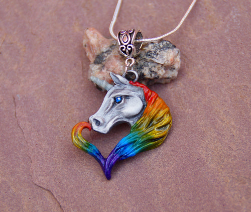 Rainbow Unicorn Pewter Pendant