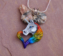 Load image into Gallery viewer, Rainbow Unicorn Pewter Pendant